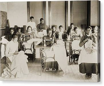 Young African American Women Sewing Canvas Print by Everett