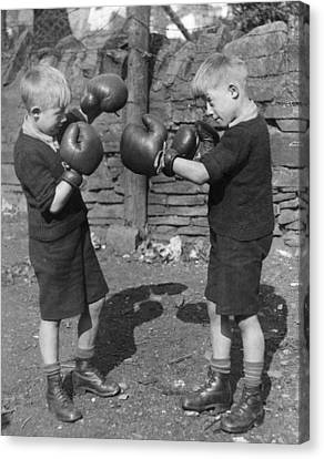 Young Boxing Twins Canvas Print by Fox Photos