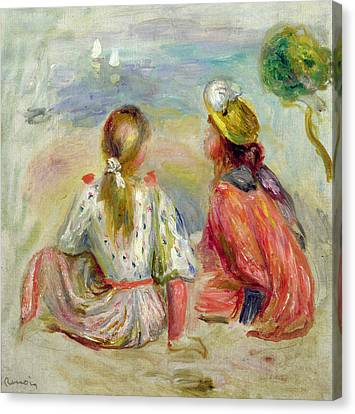 Young Girls On The Beach Canvas Print by Pierre Auguste Renoir