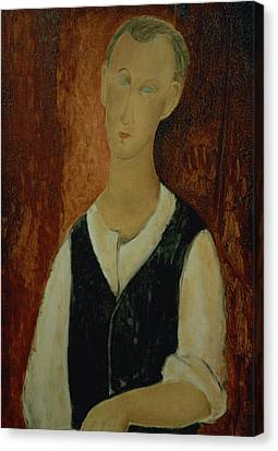 Young Man With A Black Waistcoat Canvas Print by Amedeo Modigliani