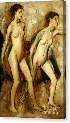 Young Spartan Girls Provoking The Boys Canvas Print by Edgar Degas