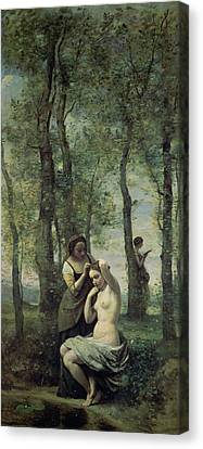 Young Woman At Her Toilet Canvas Print by Jean Baptiste Camille Corot