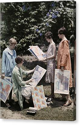 Young Women From Newcomb College Gather Canvas Print by Edwin L. Wisherd