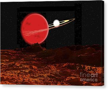Zeta Piscium Is A Binary Star System Canvas Print by Ron Miller