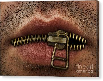 Zipper On Mouth Canvas Print by Blink Images