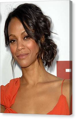 Zoe Saldana At Arrivals For Death At A Canvas Print by Everett