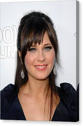 Zooey Deschanel At Arrivals For 500 Canvas Print by Everett