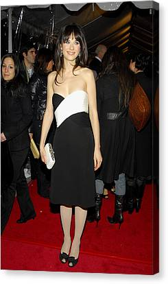 Zooey Deschanel At Arrivals For Failure Canvas Print by Everett