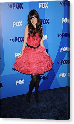 Zooey Deschanel At Arrivals For Fox Canvas Print by Everett