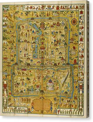 A Map And History Of Peiping Canvas Print by  Frank Dorn