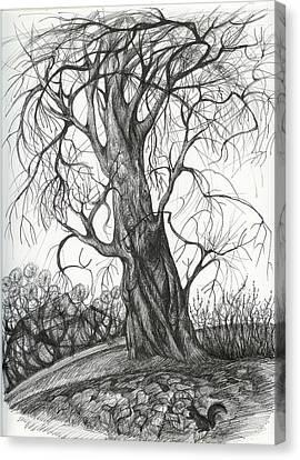 Autumn Dancing Tree Canvas Print by Anna  Duyunova
