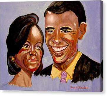 Barak And Michelle Obama   The Power Of Love Canvas Print by Rusty Woodward Gladdish