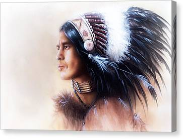 Beautiful Painting Of A Young Indian Warrior Wearing A Gorgeous Feather Headdress Profile Portrait Canvas Print by Jozef Klopacka