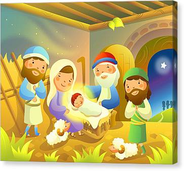 Birth Of Christ Canvas Print by Don Kuing
