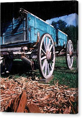 Blue Wagon Canvas Print by David and Carol Kelly