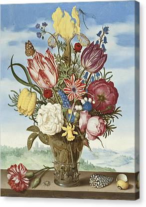 Bouquet Of Flowers On A Ledge Canvas Print by Ambrosius the Elder Bosschaert