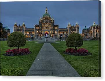 British Columbia Parliament Buildings Canvas Print by Mark Kiver
