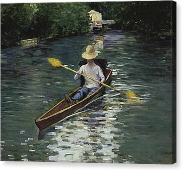 Canoe On The Yerres River Canvas Print by Gustave Caillebotte
