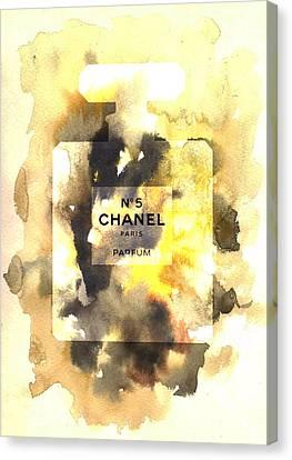 Chanel No. 5 Watercolor Poster 3 - By Diana Van Canvas Print by Diana Van