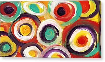 Colorful Bold Circles Panoramic 2 Canvas Print by Amy Vangsgard