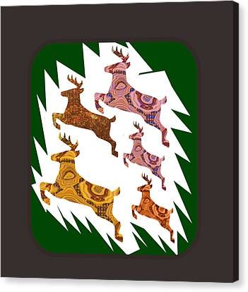 Deer Animal Cage Wild Exotic Crystal Stone Cutout Graphics Buy Or Download For Self Printing Canvas Print by Navin Joshi