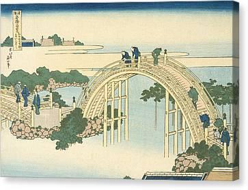 Drum Bridge Of Kameido Tenjin Shrine From The Series Wondrous Views Of Famous Bridges In All The Pr Canvas Print by Katsushika Hokusai
