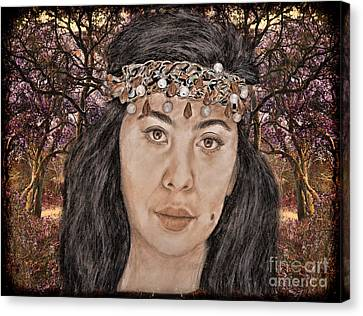 Filipina Model Kaye Anne Toribio In A Mystical Forest. Canvas Print by Jim Fitzpatrick