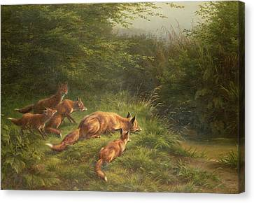 Foxes Waiting For The Prey   Canvas Print by Carl Friedrich Deiker
