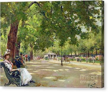 Hyde Park - London Canvas Print by Count Girolamo Pieri Nerli