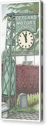 Leyland Motors Clock Kendal Cumbria Canvas Print by Sandra Moore