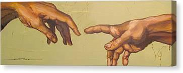 Michelangelos Creation Of Adam 1510 Canvas Print by Eric Dee