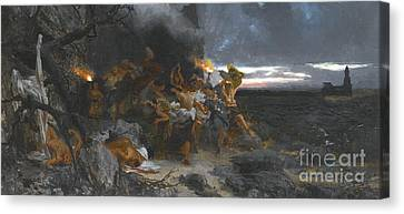 Orgy On Capri In The Time Of Tiberius Canvas Print by Henryk Siemiradzki