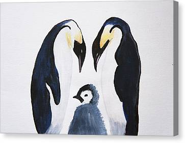 Penguins With Chick  Canvas Print by Art Spectrum