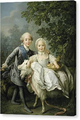 Portrait Of Charles Philippe Of France And His Sister Marie Adelaide Canvas Print by Francois Hubert Drouais
