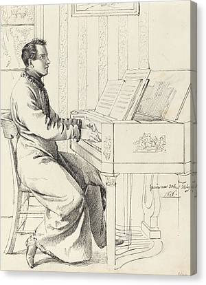 Preparing To Play The Piano Canvas Print by Ludwig Emil Grimm