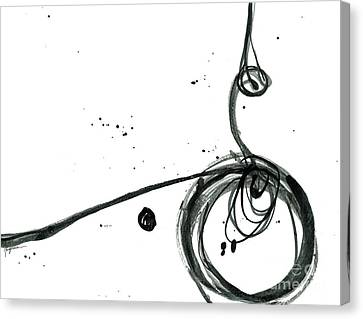 Revolving Life Collection - Modern Abstract Black Ink Artwork Canvas Print by Patricia Awapara
