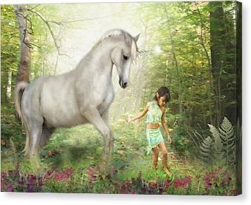 Stella And The Unicorn Canvas Print by Trudi Simmonds