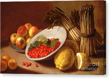 Still Life Of Raspberries Lemons And Asparagus  Canvas Print by Italian School