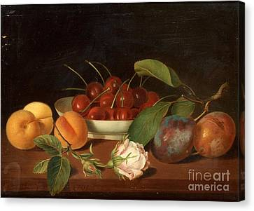 Still Life With Fruits And Flowers Canvas Print by Justus Juncker