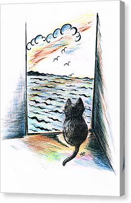 Cat's- Sweet View Canvas Print by Teresa White