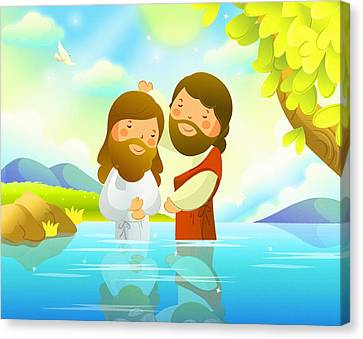 The Baptism Of Jesus  Canvas Print by Don Kuing