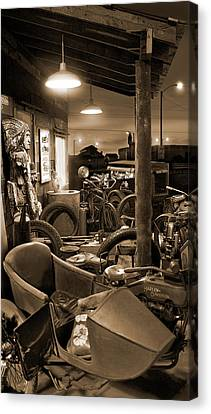 The Motorcycle Shop Canvas Print by Mike McGlothlen