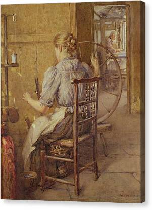 The Spinning Wheel  Canvas Print by Frederick William Jackson