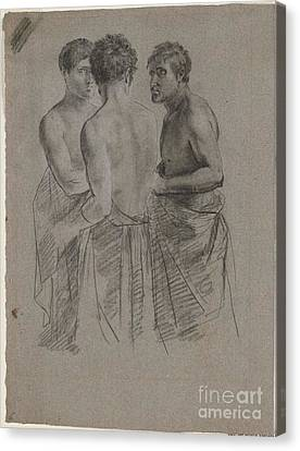 Title Three Men Talking Canvas Print by MotionAge Designs