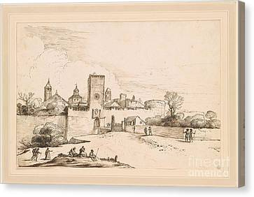View Of A Walled Town Canvas Print by Giovanni Francesco Barbieri