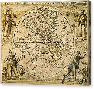 W. Hemisphere Map, 1596 Canvas Print by Granger
