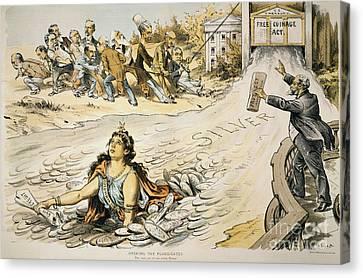 Free Silver Cartoon, 1890 Canvas Print by Granger