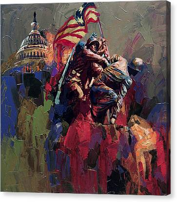 062 Jima Marine Memorial Washington Dc Canvas Print by Maryam Mughal