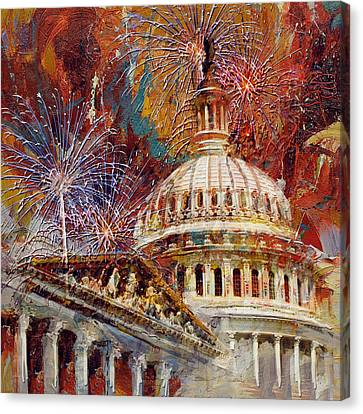 070 United States Capitol Building - Us Independence Day Celebration Fireworks Canvas Print by Maryam Mughal