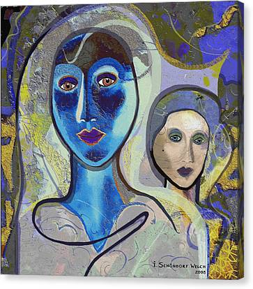 092 - Blue Lady  Canvas Print by Irmgard Schoendorf Welch